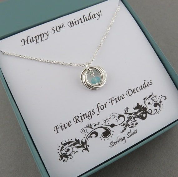 50th Birthday Gift For Women Birthstone Necklace Sterling