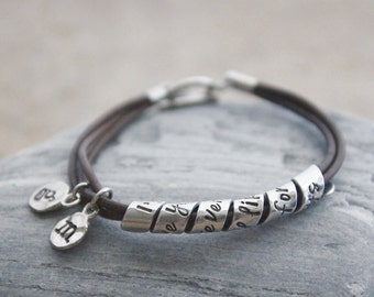 Quote Bracelet, Personalized Leather Bracelet, Hidden Message Bracelet, Skinny Spiral Message, Hand Stamped Jewelry, Hand Stamped Bracelet