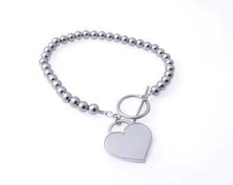 Heart silver bracelet. Silver heart bracelet. Beaded bracelet. Silver bracelet. Sterling silver bracelet.Large 5mm. Gift ideas