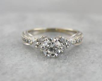 Diamond Engagement Ring, Contemporary Diamond Ring, White Gold Engagement Ring, Diamond Studded Setting MKZNWZ-P