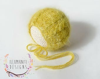 Yellow Newborn Knit Bonnet - Yellow Angora Cabled Knit Bonnet - Newborn Girl Photo Prop - Newborn Boy Photo Prop - Ready to Ship Photo Prop