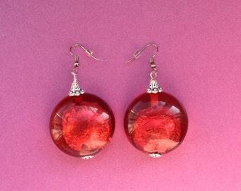 Large red statement earrings, red foil earrings, round red earrings, African earrings, red jewellery, red jewelry, foiled earrings