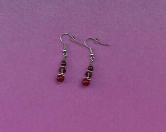 Little red earrings, small red earrings, red hook earrings, red hooked earrings, red beaded earrings, red drop earrings, ruby red jewellery