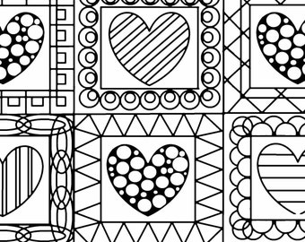 Hearts Quilt Coloring Page. Love Coloring Page, Adult Coloring Page, Printable Wall Art, Gift for Her