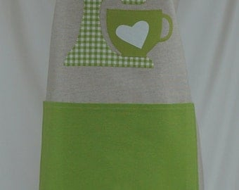 Apron handmade, gift for her, green kitcheaid appliqué