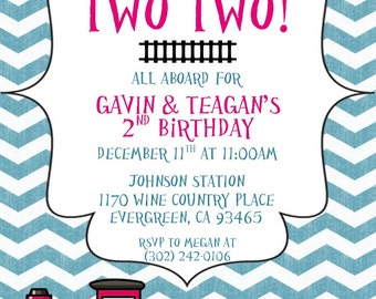 Train Invitation, Train Invitations, Chugga Chugga Two Two, Train Birthday, Twin Birthday Party, Boy Girl Twins Birthday