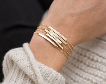 Bar Bracelet Personalized, Gold, Silver, Rose Gold / Small Skinny Bracelet - Dainty, Minimal Stacking Bracelet Layered and Long LB130_30_B