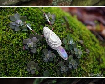 Aurae  - Moonstone and Aura Quartz OOAK clay necklace