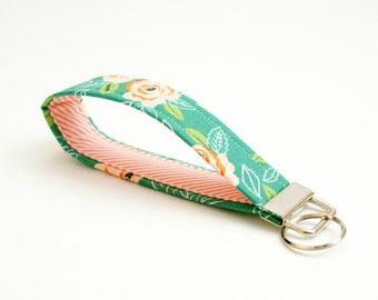 Key Fob - Teal, Peach, Coral Floral Fabric - 5 In. Key Ring - Key Chain - Cute Wristlet Loop - Short Lanyard Strap - Keychain - Housewarming
