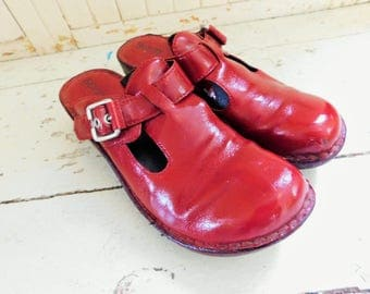 1990's, BORN, Patent Red Leather, Clogs, Mary Janes, Women's Size, US 8, European 39
