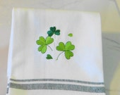Dancing Shamrocks Dish Towel Irish Tea Towel Saint Patricks Day Kitchen Towel