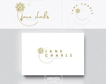 Dandelion Logo 6- Premade Photography Logo and Watermark, Classic Elegant Script Font gold glitter dandelion children Calligraphy Logo