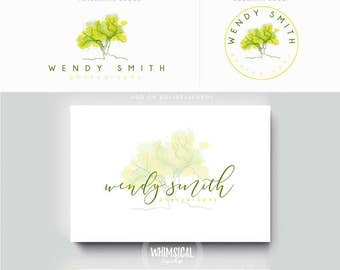 watercolor big sketchy tree -  Premade Photography Logo and Watermark, Classic Elegant Script Font TREE children , photography branding kit