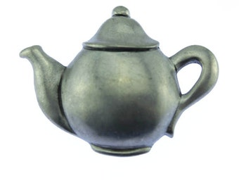 Silver Teapot Brooch, Silver Teapot Pin, Pewter Tea Brooch, Pewter Tea Pin