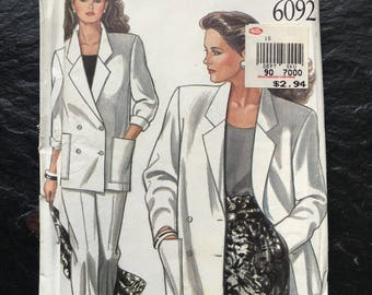 Vintage 1980s Jacket and Pants Pattern in Six Sizes // New Look 6092 sizes 8-10-12-14-16, 6 sizes in one, plus > trousers