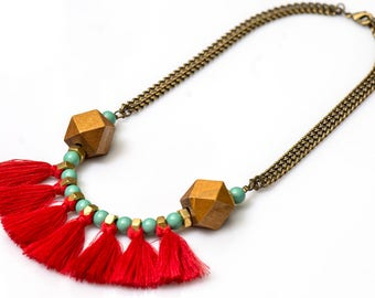 Tribal fringe necklace, red fan necklace, african tribal necklace, red statement necklace, turquoise red necklace.