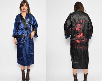 Vintage 90's Chinese Two-Sided Embroidered Dragon Robe