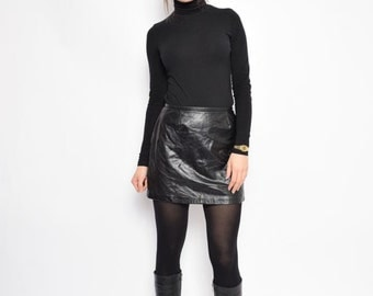 Vintage 90's Black Faux Leather Skirt / Black Leather Mini Skirt / High Waisted Leather Skirt - Size Small