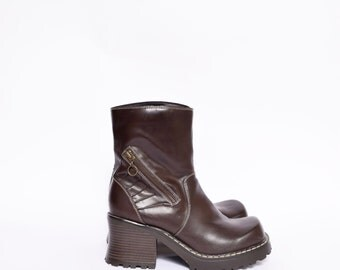 Vintage 90's Brown Faux Leather Platform Boots with Chunky Heels and Zipper