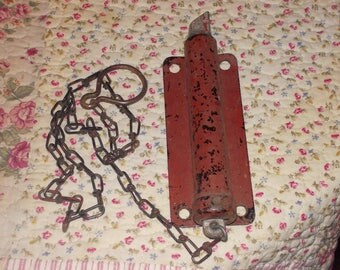 vintage barn deadbolt spring loaded with chain industrial