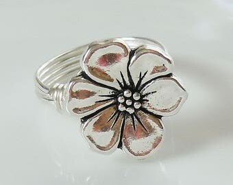 Silver Apple Blossom Wire Wrapped Ring