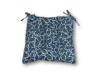 Blue, Green and White Leaves  -- Tufted Seat Cushion w/ Ties for Kitchen Dining Chair ~ Select Size