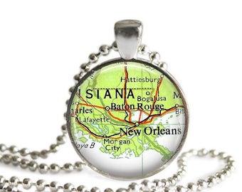 New Orleans map necklace Baton Rouge map pendant travel gift vintage atlas Louisiana.