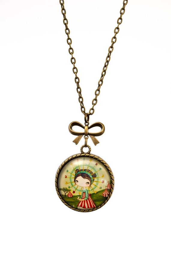 FREE SHIPPING - **NEW** Girl And Carousel 30mm Bronze Lace & Bow Pendant Necklace - Unique - Vintage - Gorgeous Gift - Love