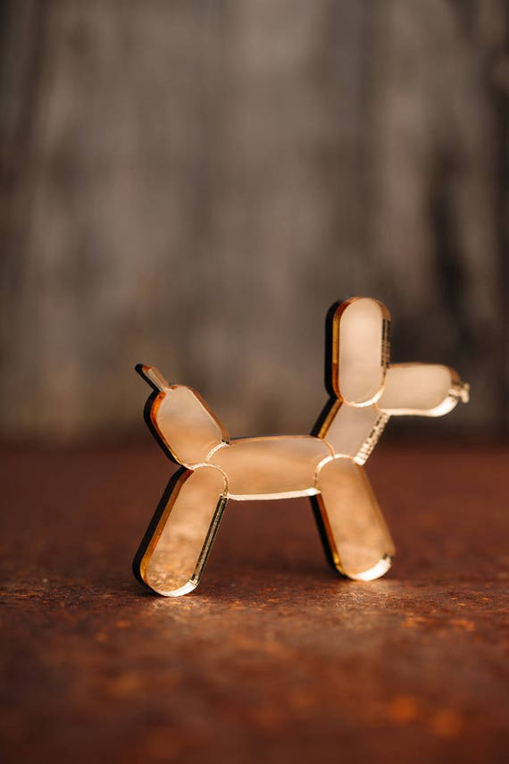 NEW Gold Balloon Dog Necklace or Brooch - Mirror Acrylic