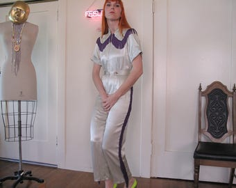SOLD SORRY BROS 70's Satin Fringe Cowgirl Jumpsuit sz Sm