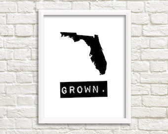 Florida sign, personalized home decor, black and white print, Florida wall art, Florida decor, Florida grown, Florida state map print, gifts
