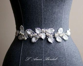 Vintage Style silver white Flower and Twig Bridal Wedding sash belt, leaf wedding belt,beaded Belt , white wedding belt