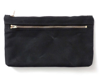 Waxed Canvas Pouch Clutch Purse Double Zipper Cosmetic Bag Black