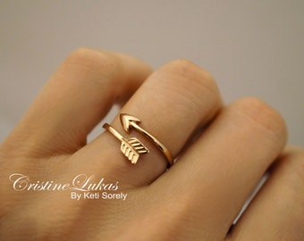 SALE - Rose Gold Sideways Arrow Ring - Celebrity Style Double Wrap Arrow Ring - Adjustable Ring - Rose Gold Over Sterling Silver
