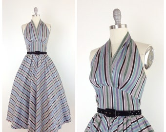 50s Silk Ribbon Halter Party Dress / 1950s Vintage Prom Dress / Small / Size 4