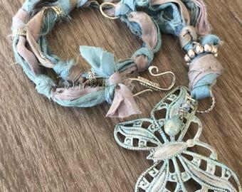 Breezy Blue Butterfly Sari Ribbon Necklace