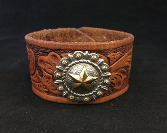 Cuff Bracelet - Unisex Leather Cuff Bracelet with Western Concho - Made From Recycled Leather Belt - FREE SHIPPING