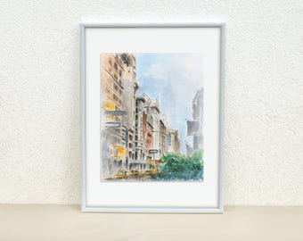 New York city streets. New York street painting. NYC painting. Watercolor painting. Original painting. City painting. 8x10