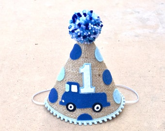 Boys 1st Birthday Little Blue Truck Burlap Party Hat - 2nd Birthday - Cake Smash - Photo Prop
