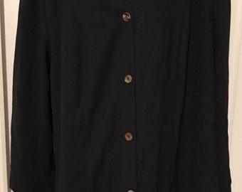 Lord & Taylor Size 20W Plus Size Blazer Jacket Dark Navy V Neck Long Sleeves 20W Boyfriend Cut