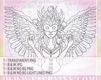Barn Owl Masquerade Orbs Goddess UNCOLORED Digital Stamp Image Adult Coloring Page jpeg png jpg Fantasy Craft Cardmaking Papercrafting DIY