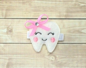 Tooth Hair Clip, Tooth Hair Bow, Tooth Bow, Tooth Fairy Hair Bow, First Tooth Hair Bow, First Tooth Bow, Toddler Hair Clips, Felt Clips