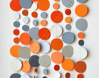 Modern Nursery Decor, Orange Gray paper garland, Wedding garland, Boy's Birthday, Orange Baby Shower, Birthday Party decorations, KC-1228