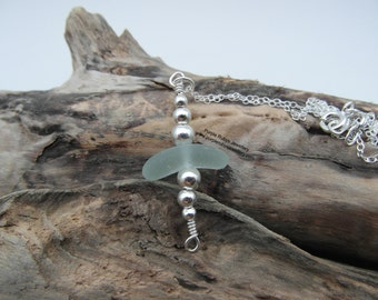 Curved Cornish Sea Glass Necklace ~ Sterling Silver ~ Cornwall
