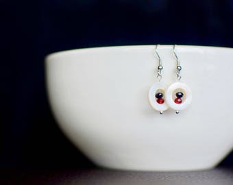 Adorable Classic Drop Earrings with Mother of Pearl Frames, Christmas, Prom, Winter Formal, Easter, Gift, Wedding, Bridesmaid, Holiday