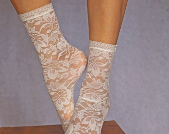 Lace Socks. Beautiful Ivory Floral Design. Ankle Socks. Women's Socks. Lace Trim.