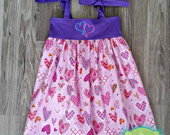 Girls Boutique Knot Dress - Spring Summer Dress - Valentine's Day Pink Purple Blue Hearts - Heart Embroidery - Baby Toddler 6m to Girls 14
