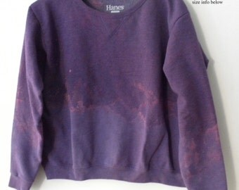 Woman's Purple Sweatshirt, crewneck sweatshirt, MEDIUM, Acid wash, Boho, two tone purple, ombre, rocker, boatneck, Gift for her,Holiday Sale