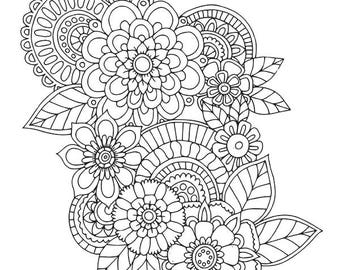 HELLO ANGEL - Floral Cluster 1 Colouring Page