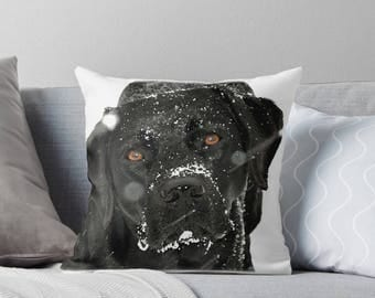 Black Lab Pillow 02SG - Labrador Pillow - Throw Pillow - Black Lab Decor - Black Lab Gifts - Outdoor Pillow - Dog Pillow - Black Lab Art